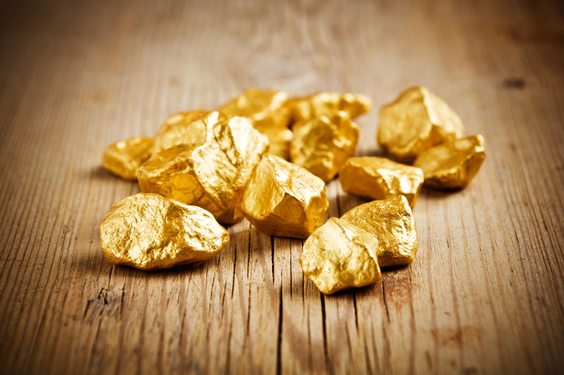 Gold Nuggets panned from the dirt